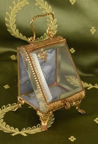 B941 - Exquisite Antique French Glass & Repousse Pocket Watch Stand Silk Interior 19th C