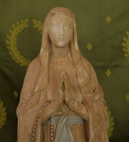 B942 - Stunning Tall Antique French Plaster Religious Statue / Bust, Mary C1900