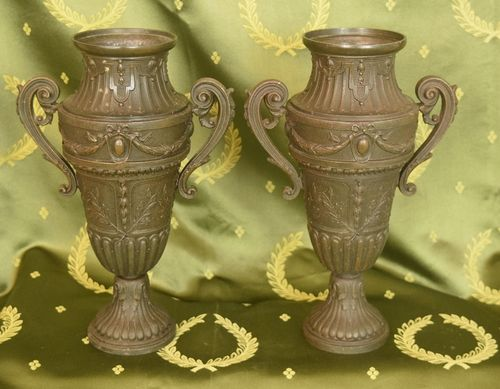 B943 - Fabulous Pair Decorative 19th C Antique French Spelter Urns, Chateau Chic