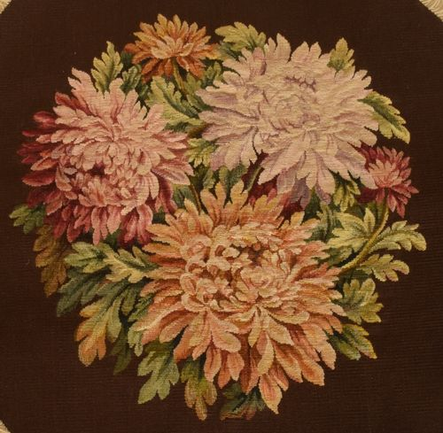 B945 - Exquisite Antique French Woven Embroidered Panel, Aubusson Style, Chrysanthemums