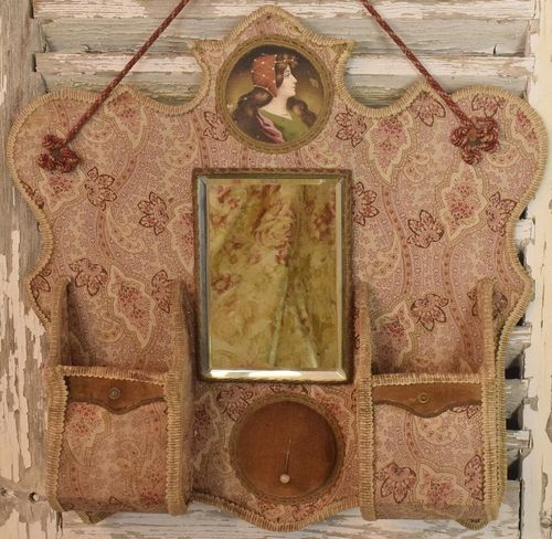 B948 - Heavenly Antique French Textile Hanging Boudoir / Vanity Tidy With Mirror 19th C