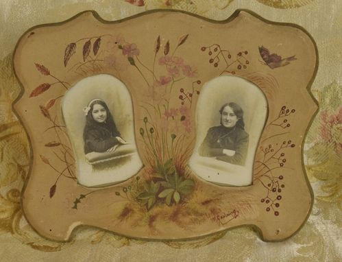 B951 - Delightful Antique French Hand Painted Double Photo Frame, Flowers & Butterfly