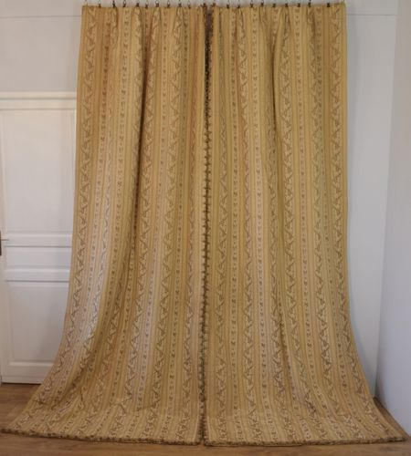 B955a - Amazing Pair Antique French Chateau Curtains, Silk Moiré / Brocade 19th C