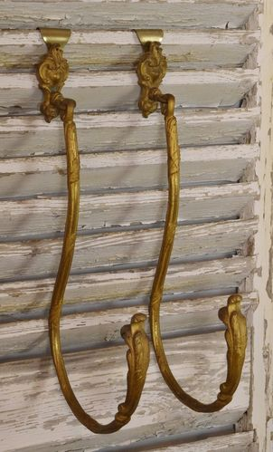 B956 - Superb Large Pair Antique French Curtain Tie / Hold Backs, Acanthus Leaf