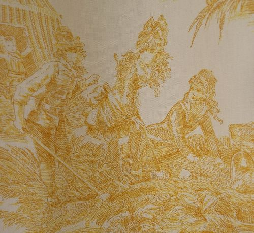 B957b - Delightful Pair Vintage French Toile Curtains, 19th C Seaside Scenes