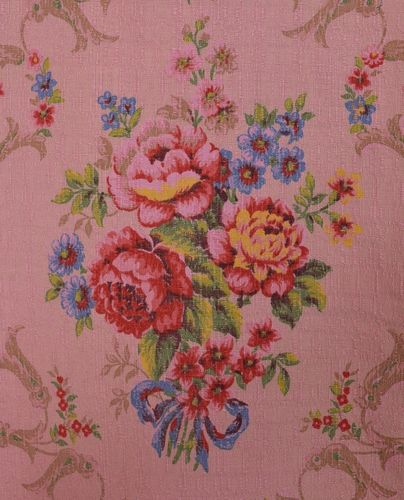 B914 - Exquisite Antique French Curtain / Panel, Roses & Bows, Amazing Colours