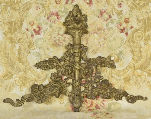 B959 - Impressive Antique French Ormolu Mount, Flaming Torch, Ribbon & Roses, 19th C