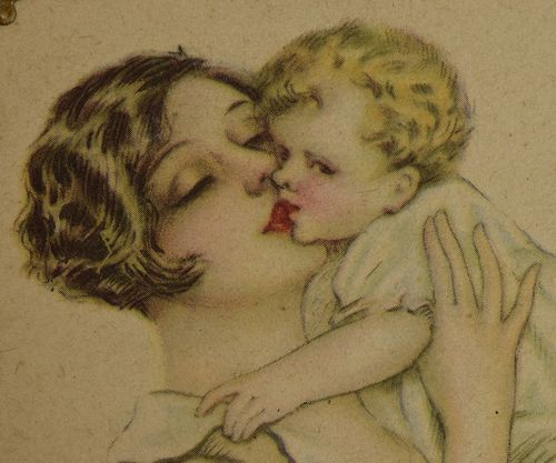 B977 - Adorable Antique French Beautiful Mother & Baby Print, Repousse Frame, C1920