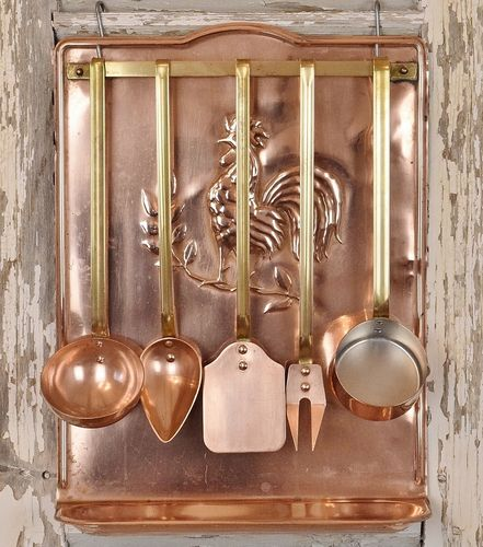 B990 - Fantastic Vintage French Copper Kitchen Rack & Utensil Set, Professional Quality