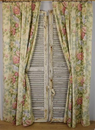 B996a - Beautiful Pair Vintage French Floral Glazed Cotton Chinz Curtains, Drapes