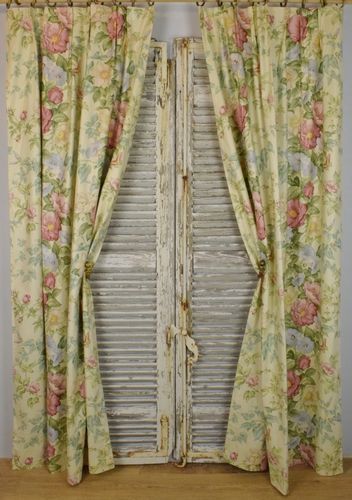 B996 - Beautiful Pair Vintage French Floral Glazed Cotton Chinz Curtains, Drapes