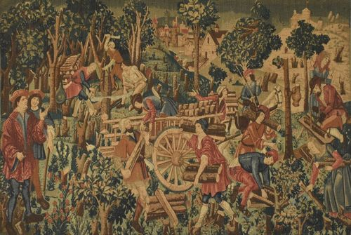 B1001 - Amazing Vintage French Wall Hanging, Printed Linen Medieval Woodsmen Scene