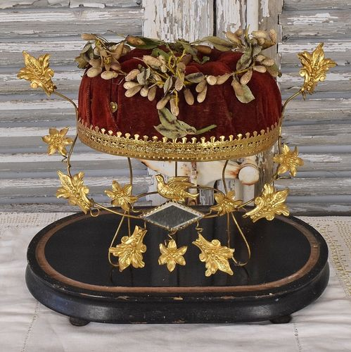 B1003 - Gorgeous Antique French Marriage / Wedding Stand With Timeworn Couronne, 19th C