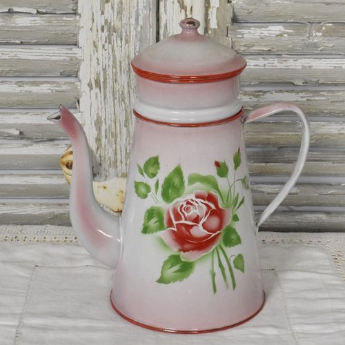 B1013 - Gorgeous Vintage French Pink Enamel Cafetiere / Coffee Pot With Red Roses