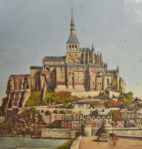 B1022 - Superb Vintage French Nostalgic Seaside Framed Print, Mont St. Michel, 1940/50