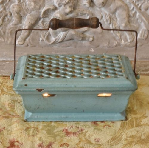 B1023 - Superb Antique French Enamelled Cast Iron Foot Warmer / Food Warmer 19th Century