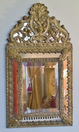 B1027 - Fabulous Antique French Repousse / Toleware Rococo Style Cushion Mirror 19th C