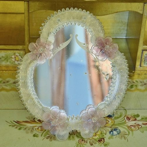 B1028 - Divine Antique Italian Murano Glass Vanity Mirror With Flowers C1920