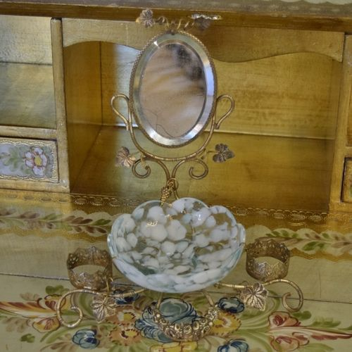 B1033 - Beautiful Antique French Toleware Watch / Trinket Stand With Mirror & Glass Bowl