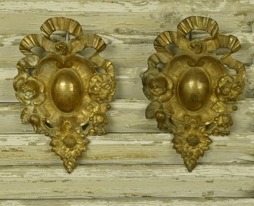 B1036 - Divine PAIR Antique French Ormolu Hook Covers / Embellishments, Bow & Flowers