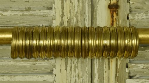 B1038a - Superb Set 18 Vintage French Heavy Brass Curtain Rings, Chateau Chic
