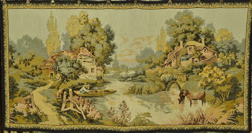 B1041 - Charming Vintage French Tapestry Wall Hanging, Serene Riverside Scene