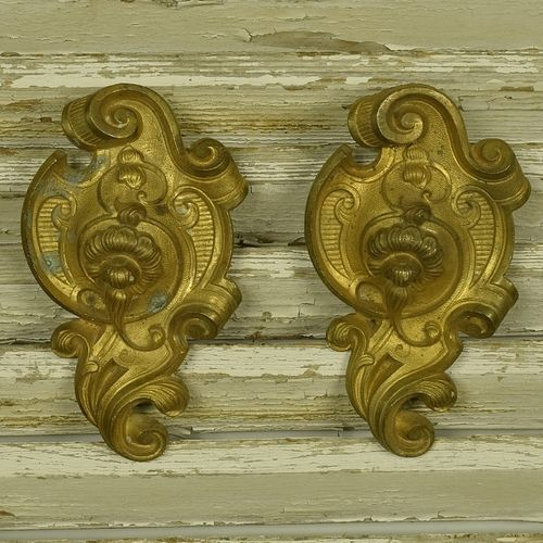 B1043 - Divine PAIR Antique French Ormolu Hook Covers / Embellishments, Acanthus Scrolls