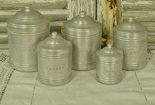 B1048 - Superb Set 5 Vintage French Aluminiun Kitchen Storage Jars / Canisters