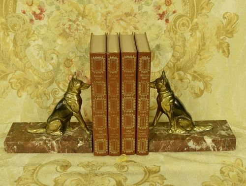 B1051 - Superb Pair Antique French Alsation Dog / German Shepherd Marble Bookends C 1930