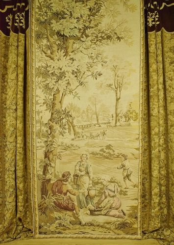 B1059 - Spectacular Antique French Long Tapestry Chateau Portiere / Curtain / Hanging