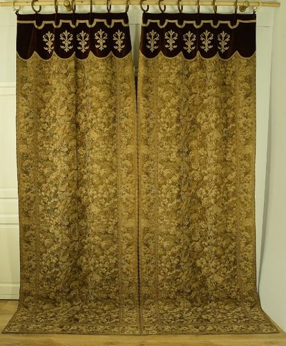 B1060 - Fabulous Pair Long Antique French Tapestry & Velvet Chateau Curtains / Drapes
