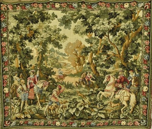 B1061 - Rather Plumptious Vintage French Tapestry Wall Hanging, Stunning Hunting Scene