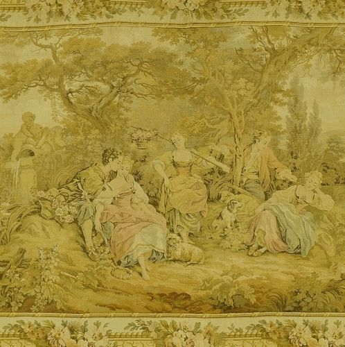 B1063 - Gorgeous Vintage French Tapestry Wall Hanging, Romantic Chateau Jardin Scene