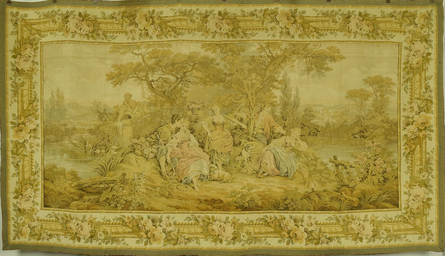 B1063 - Gorgeous Vintage French Tapestry Wall Hanging, 18th C Petit Trianon Jardin Scene