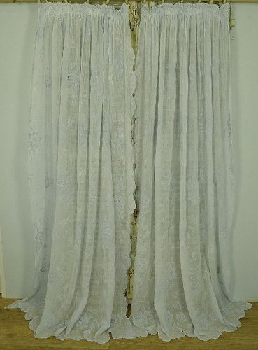B1072 - Sublime PAIR Antique French Fine Muslin, Cornely Lace Curtains / Drapes, 19th C