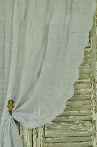 B1071 - Divine Antique French Fine Muslin, Cornely Lace Curtain / Drape / Panel, 19thC