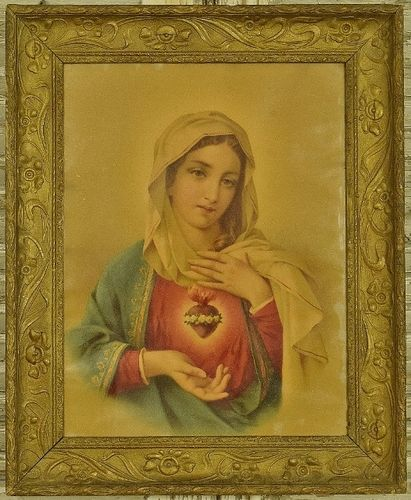 B1076 - Gorgeous Antique French Religious Print, Mary & Sacred Heart, Art Nouveau Frame
