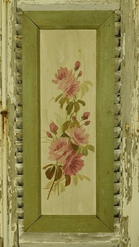 B1077 - Divine Antique French Painted Floral Wooden Panel, Pink Roses, Shabby Chic Charm
