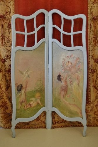 B1078 - Sublime Antique French Folding Screen, Hand Painted Cherub Panels, Oil On Canvas