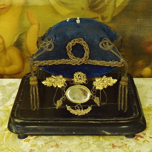 B1082 - Beautiful Antique French Marriage / Wedding Velvet Cushion & Stand, Napoleon III