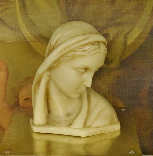 B1086 - Divine Antique French Religious Wax Bust / Statue Mary, The Madonna, C 1900