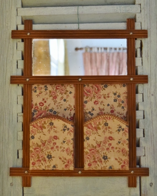 B1103 - Sweet Antique French Textile Hanging Boudoir / Vanity Tidy With Mirror C 1920