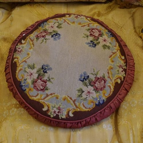 B1104 - Beautiful Antique French Hand Worked Floral Needlepoint,Tapestry Pleated Cushion