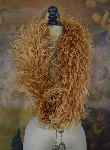 B1107 - Gorgeous Antique French Ostrich Feather Boa With Silk Ribbon Tassels, C1890