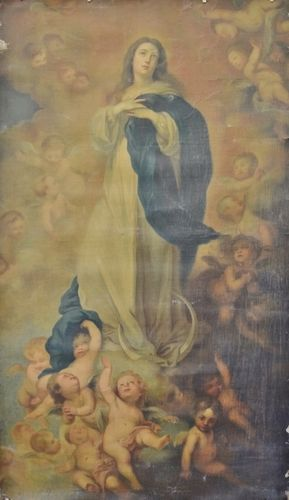 B1108 - Fabulous Large Antique French Religious Print On Canvas, After Murillo, 19th C