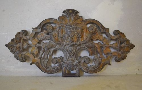 B1112 - Superb Antique French Cast Iron Architectural Mount, Plaque With Cherubs, 19thC
