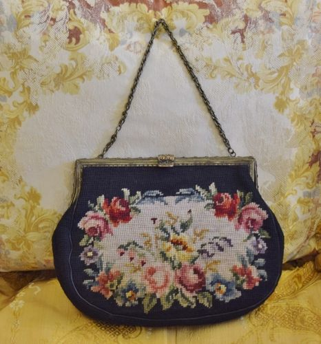 B1113 - Gorgeous Antique French Hand Worked Needlepoint / Tapestry Framed Handbag, Purse