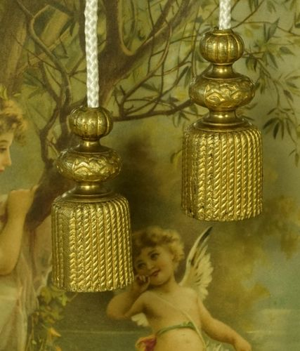 B1120 - Impressive Pair Huge Antique French Gilded Tassel Chateau Light / Curtain Pulls