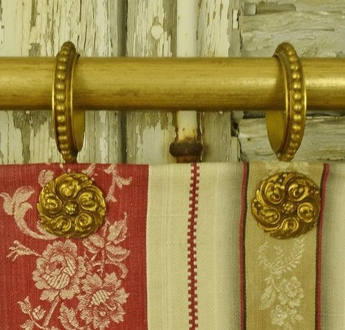 B1123 - Amazing Set 9 Antique French Gilded Medallion Chateau Curtain Rings, 19th C