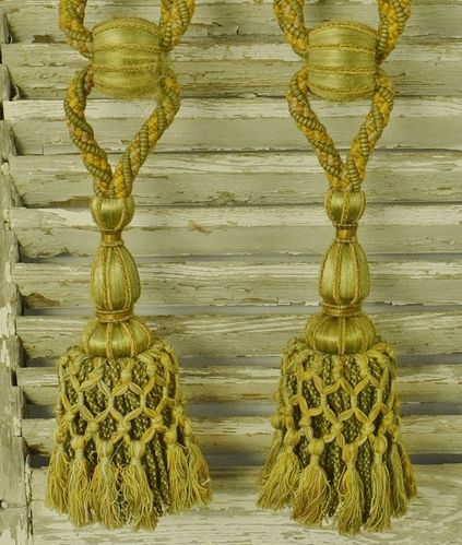 B1135 - Superb Pair Antique French Rope & Tassel Chateau Curtain Tie / Hold Backs, 19thC